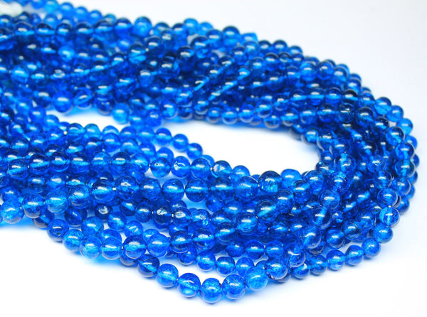 13 Inches - 5.5-6mm - Top Quality Neon Blue Apatite Smooth Round Beads Strand SKU813/A - Jewels Exports