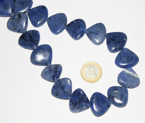 Natural Sodalite Smooth Polished Straight Heart Drops Beads Strand, 18 Inches, 24-26mm, SKU6676A - Jewels Exports