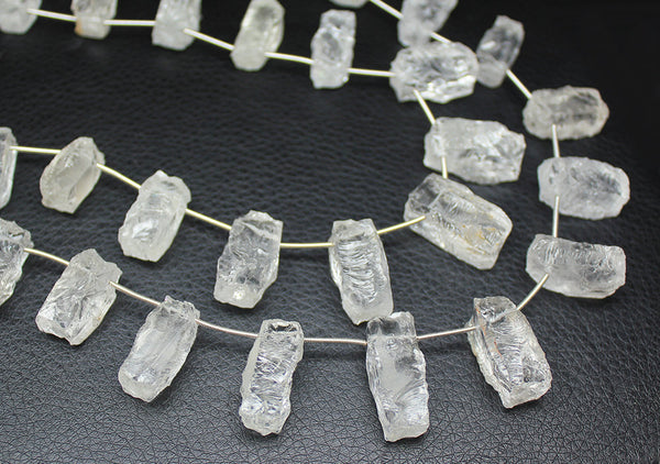 12 inches, 21-26mm, Natural White Quartz Hammered Rectangular Beads Strand, SKU7444 - Jewels Exports - 1