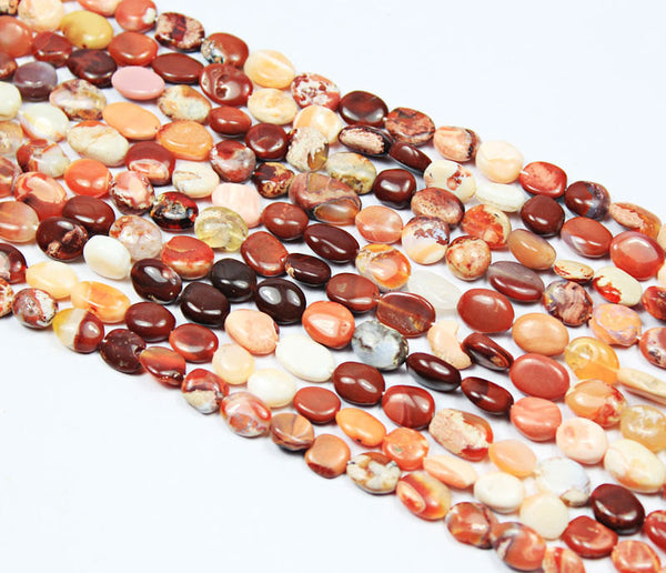 Natural Mexican Opal Smooth Oval Beads Strand, 14 Inches, 9.5-14mm, SKU7452/A - Jewels Exports