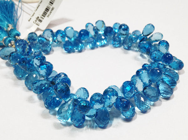 4.5 inches, 9-12mm, Natural Deep Swiss Blue Topaz Faceted Tear Drops Briolette Strand, SKU6980/J - Jewels Exports - 1
