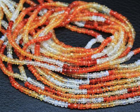 10x Natural Mexican Opal Faceted Rondelle Beads Strand, 13 Inches, 3mm, SKU5961/A - Jewels Exports