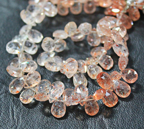 8.5 inches, 8-10mm, Natural Strawberry Quartz Faceted Pear Drops Briolette Beads Strand, SKU6457/S - Jewels Exports