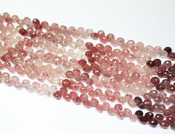 4.5 Inches, 6mm, Natural Cherry Fruit Quartz Faceted Onion Drops Briolette Beads Strand, SKU1632/S - Jewels Exports
