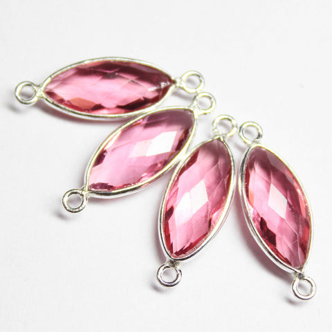2 Pairs - Rubellite Pink Hydro Quartz Marquise Rim Silver Connector - 22mm x 8mm,SKU2826 - Jewels Exports