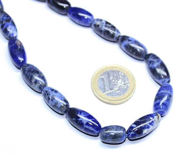 Natural Sodalite Smooth Polished Puff Marquise Beads Strand, 17 Inches, 13-16mm, SKU6568A - Jewels Exports