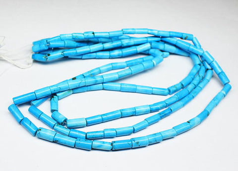 Natural Turquoise Smooth Tube Beads Strand, 10-15 Inches, 10-15mm, SKU/J - Jewels Exports
