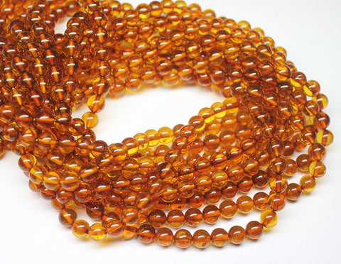 Natural Amber Smooth Polished Round Ball Beads, 16 inches, 6mm, SKU7564/S - Jewels Exports