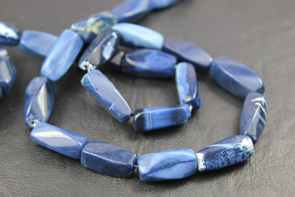 Natural Blue Opal Smooth Twisted Tube Beads Strand, 14 inches, 9-17mm, SKU3448/J - Jewels Exports