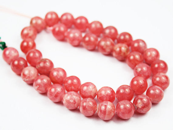AAA Rhodochrosite Smooth Round Beads pair, 2 beads, 10mm, SKU5345A - Jewels Exports