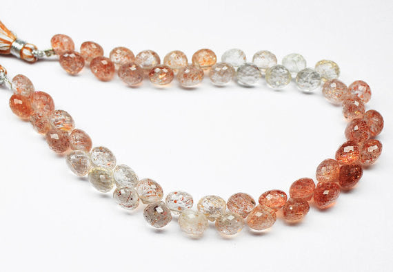 Bead, Fruit Quartz (natural), 6.5mm faceted Onion Drops, A grade, Mohs hardness 6, Sold per 4.5 inch strand SKU6283A - Jewels Exports