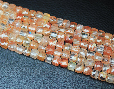 Strawberry Quartz Faceted Cube Box Beads Strand, 4.5 inches, 6mm, SKUA - Jewels Exports