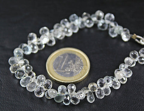 Sparkling White Topaz Faceted Tear Drop Briolette Beads, 5 pairs, 7.5mm, SKU6887A - Jewels Exports