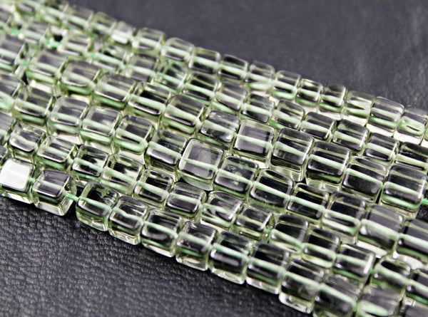 Natural Green Amethyst Smooth Cube Box Beads Strand, 6 beads, 4.5mm, SKU172/J - Jewels Exports