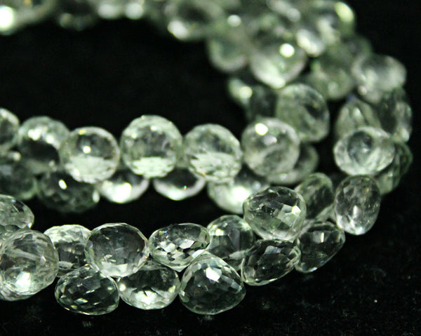 Green Amethyst Faceted Onion Beads Briolette Beads Strand, 16 beads, 6-8mm, SKU6498A - Jewels Exports
