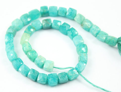 Amazonite Faceted Cube Box Beads Strand, 9 inches, 8-9mm, SKU693A - Jewels Exports