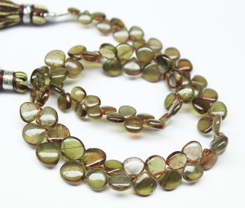 Green Andalusite Smooth Heart Drop Briolette Beads Strand, 8 inches, 4-6mm, SKU7352A - Jewels Exports