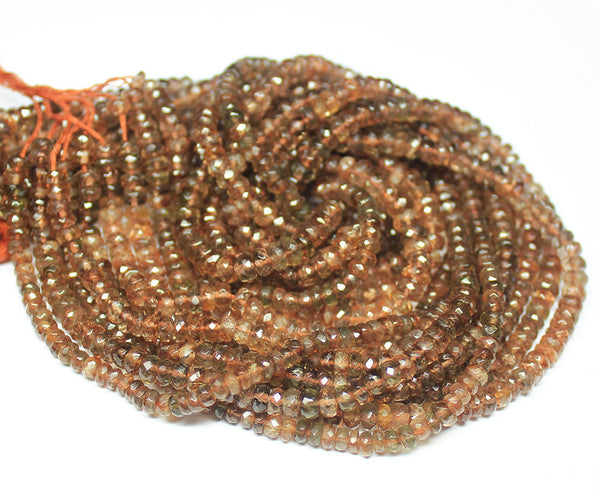 Natural Andalusite Faceted Rondelle Beads Strand, 14 inches, 4.5-6mm, SKU3707A - Jewels Exports
