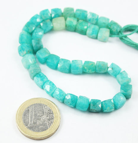 Amazonite Faceted Cube Box Beads Strand, 9 inches, 7-8mm, SKU684A - Jewels Exports