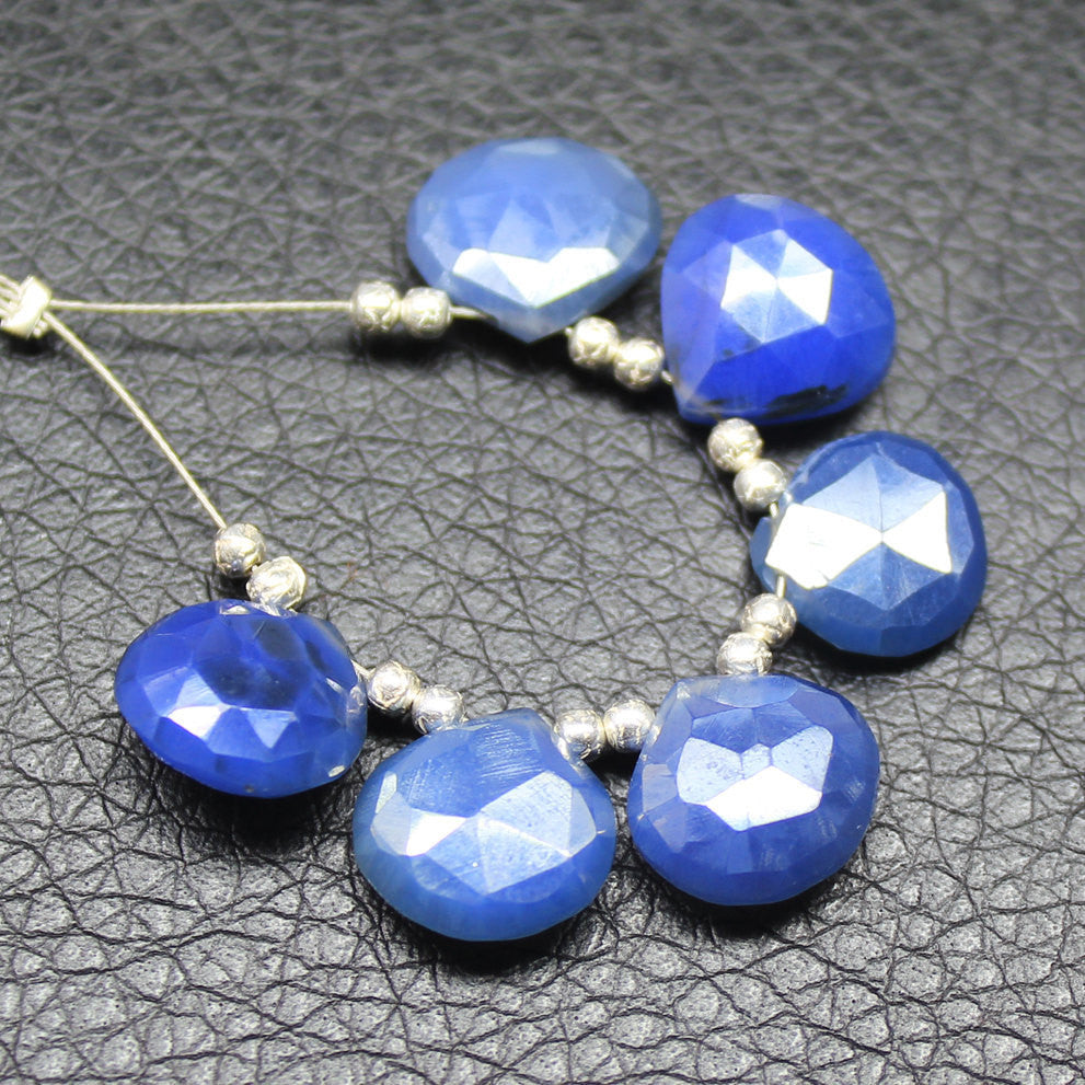 Mystic Blue Chalcedony Faceted Heart Briolette Drop Beads Strand, 3 pairs, 11mm, SKU5201A - Jewels Exports