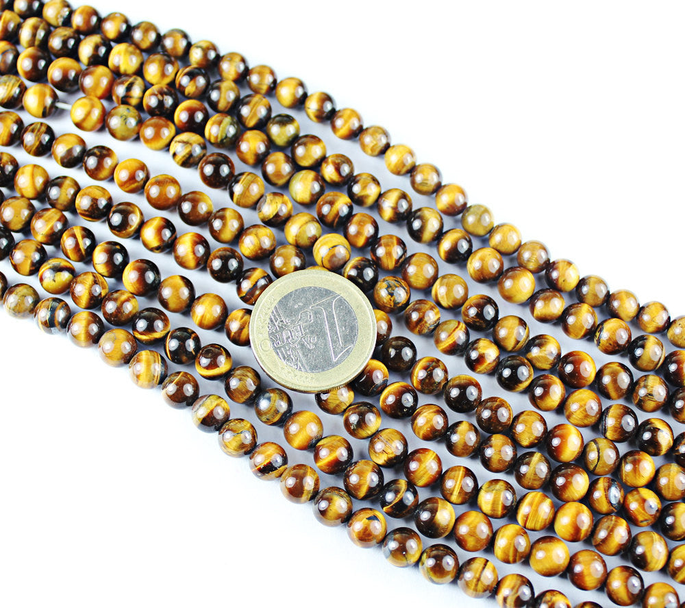 Tigers Eye Smooth Round Ball Beads Strand, 16 inches, 7mm, SKU3959A - Jewels Exports