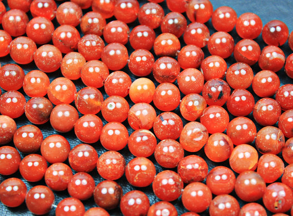 Fanta Carnelian Smooth Polished Round Ball Beads, 14 inches, 6-8mm, SKU2940/S - Jewels Exports