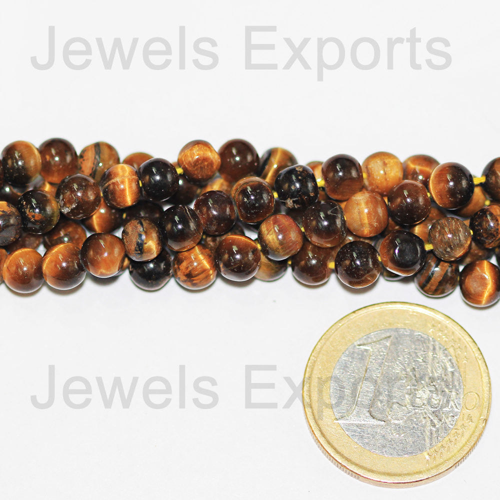 Tigers Eye Smooth Round Ball Beads Strand, 14 inches, 5mm, SKU3961A - Jewels Exports