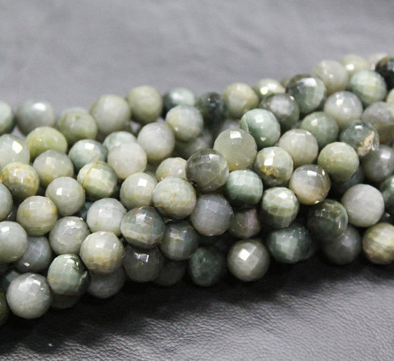 Cats Eye Faceted Round Ball Beads Strand, 10 inches, 8mm, SKU3942A - Jewels Exports
