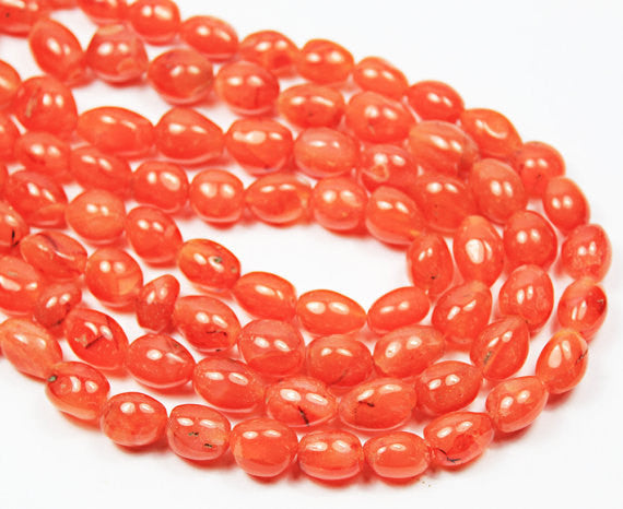 Natural Orange Carnelian Plain Smooth Oval Tumble Beads Strand, 16 Inches, 12-23mm, SKU4551/S - Jewels Exports