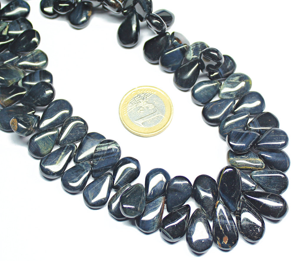 Hawks Eye Smooth Pear Drop Briolette Beads Strand, 10 inches, 10-16mm, SKU6555A - Jewels Exports