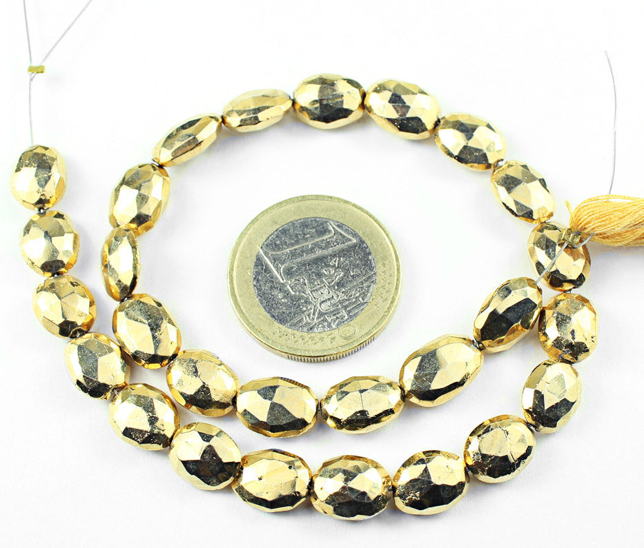 Gold Pyrite Faceted Oval Beads Strand, 10 inches, 10-12mm, SKU1382/J - Jewels Exports