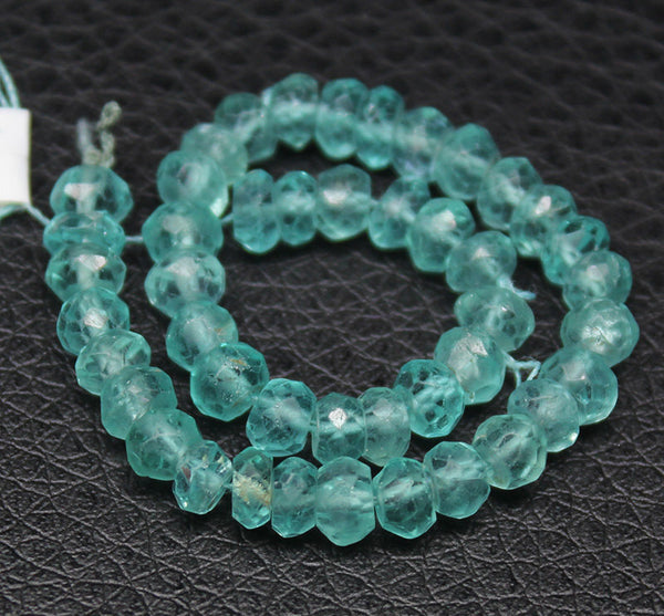 Apatite Faceted Rondelle Beads, 4mm, 5 inches, SKU3882R - Jewels Exports