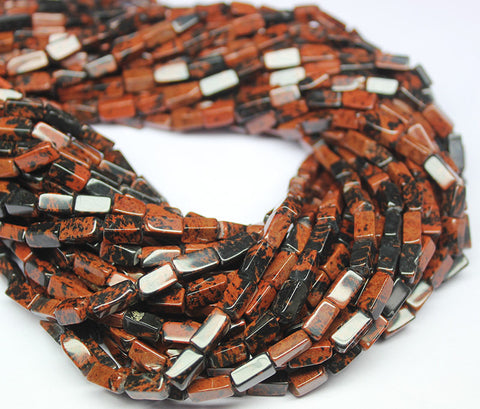 Red Marconi Obsidian Smooth Polished Rectangle Beads Strand, 14 inches, 6-8mm, SKU1247A - Jewels Exports