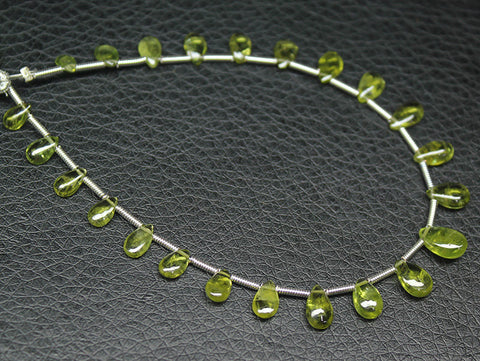 Arizona Peridot Smooth Polished Pear Drop Briolette Beads, 7 inches, 5-7 mm, SKU3633/N - Jewels Exports
