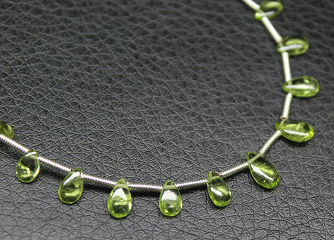 Peridot Smooth Polished Pear Drop Briolette Beads, 7 inches, 5-8mm, SKU3602R - Jewels Exports
