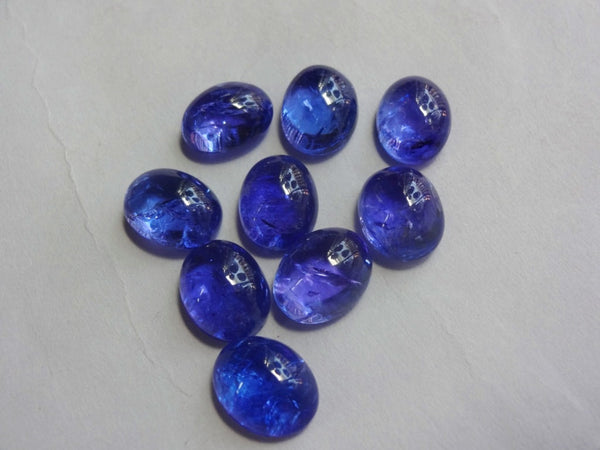 Genuine Tanzanite AAAA quality smooth plain cabochon Oval shape deep color transparent size 8X10mm sold per 1-piece 100% natural - Jewels Exports