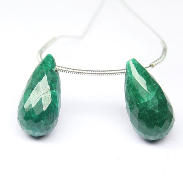 Natural Emerald Faceted Tear Drop Briolette Beads, 2 Bead, 19mm, SKU2159R - Jewels Exports