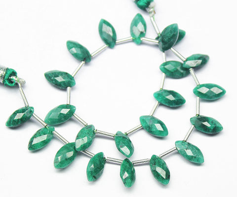 Green Emerald Faceted Marquise Briolette Beads Strand, 5 Inches, 9-10mm, SKU2179R - Jewels Exports