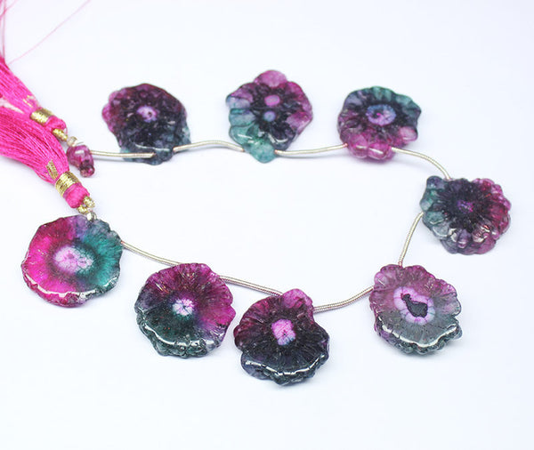 Bi color Tourmaline Solar Quartz Coin Round Beads, 8 inches, 23-26mm, SKU7432A - Jewels Exports