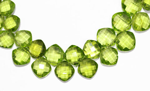 Peridot Faceted Cushion Cut Gemstone Beads, 5 pairs, 9mm, SKU3664/M - Jewels Exports