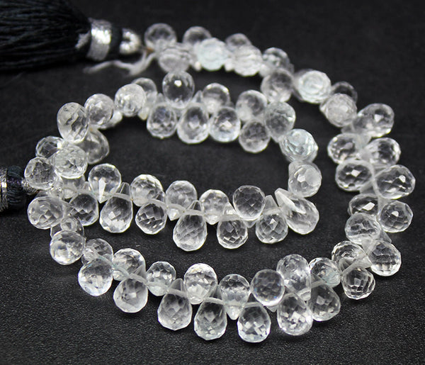 White Topaz Faceted Tear Drop Briolette Beads, 8 inches, 6-7mm, SKU7502/F - Jewels Exports