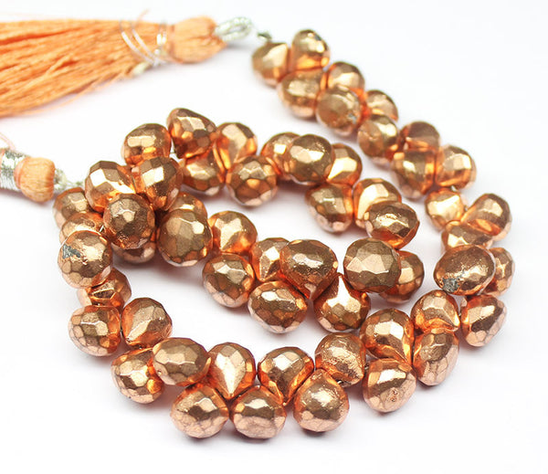 Copper Pyrite Faceted Onion Drop Briolette Beads Strand, 10 inches, 7-8mm, SKU5915/J - Jewels Exports