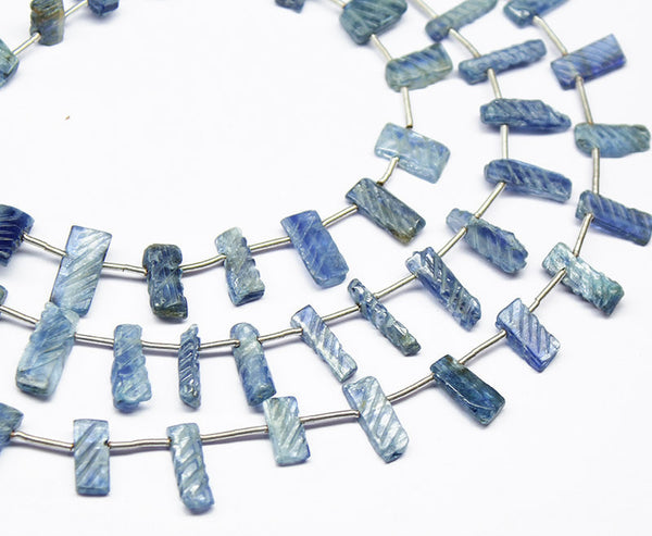 Natural Kyanite Carved Flat Tube Top Drill Briolette Beads, 7 inches, 6-17mm, SKU1134/S - Jewels Exports