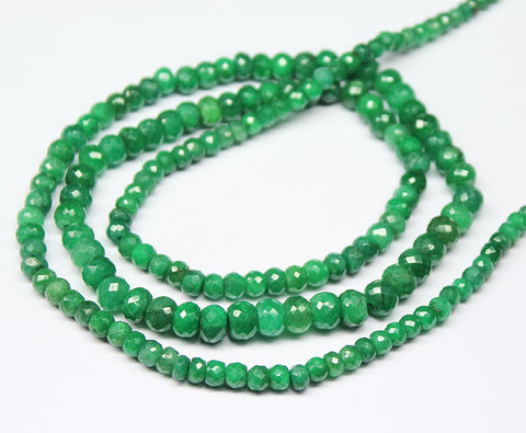 Green Emerald Faceted Rondelle Beads Strand, 24 Inhces, 3-6mm, SKU1360/S - Jewels Exports