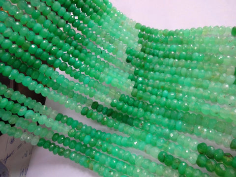 Chrysoprase shaded micro faceted rondelle beads, 5mm, 14 inches, SKU9352/M - Jewels Exports