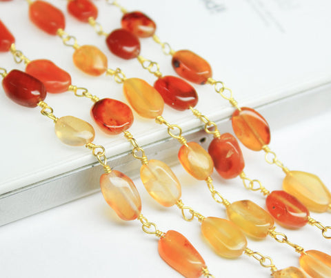 14 Inches, 8-10mm, Gold Plated gems bead Link Chain Natural Shaded Carnelian Smooth Oval Beads, SKU1916 - Jewels Exports