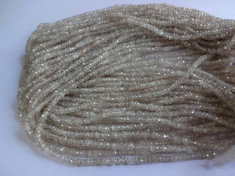 Pack of 10 strand Gorgeous Natural Champagne Zircon from the earth faceted rondelles beads size 3.5 mm 14-inch strand 100% natural - Jewels Exports