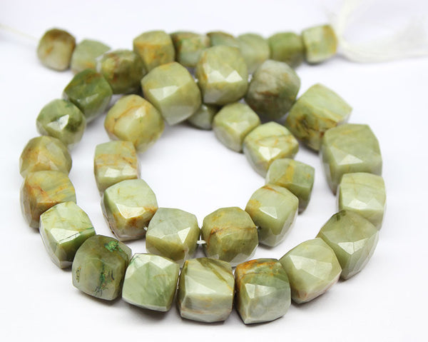 Bead, Cat's Eye (natural), 8-12mm faceted 3D cube Box, A grade, Mohs hardness 6, Sold per 7 inch strand SKU9355/A - Jewels Exports - 1