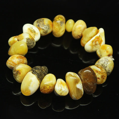 Baltic Poland Amber Smooth Tumble Beads Stretchable Bracelet, 7 inches, 12-25mm, SKU9410/S - Jewels Exports