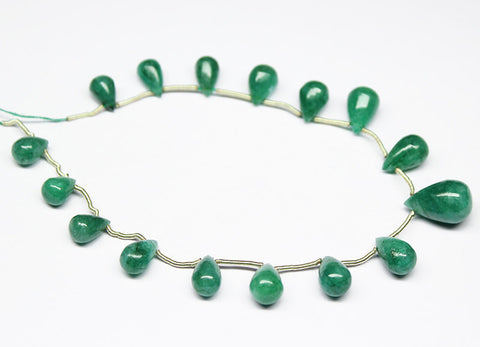 Emerald Smooth Tear Drop Briolette Beads Strand, 7 Inches, 9-14mm, SKU2221/S - Jewels Exports